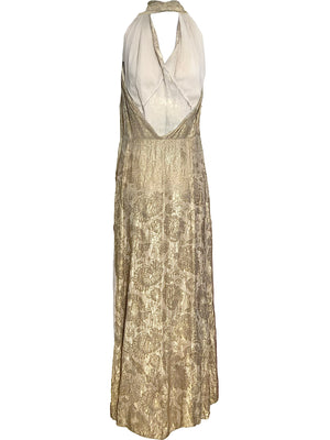Early 30s Gown Gold Lame Halter BACK 3 of 3