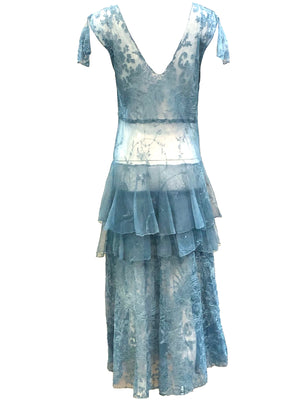 20s Cornflower Blue Tulle Gown with Embroidery BACK  3 of 3