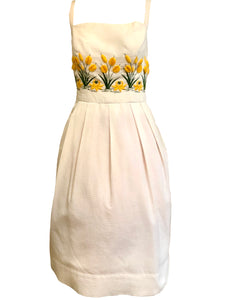 50s Dress White Pique with Yellow Floral Embroidery FRONT 1 of 3