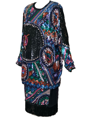 Judith Ann 80s Extravagantly Beaded and Sequined Rainbow Fantasy Dress SIDE 2 of 6