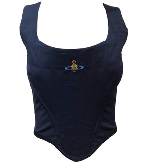 Vivienne Westwood Black Corset Top with Logo Front 1 of 4