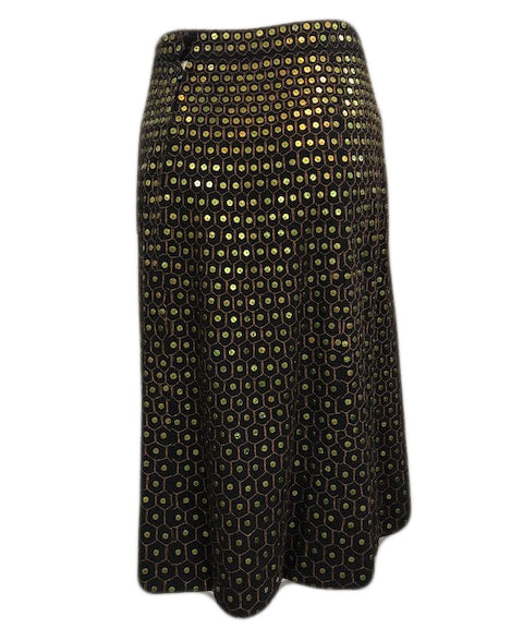 40s Bergdorf Goodman Black Wool Sequin Skirt Back 2 of 5