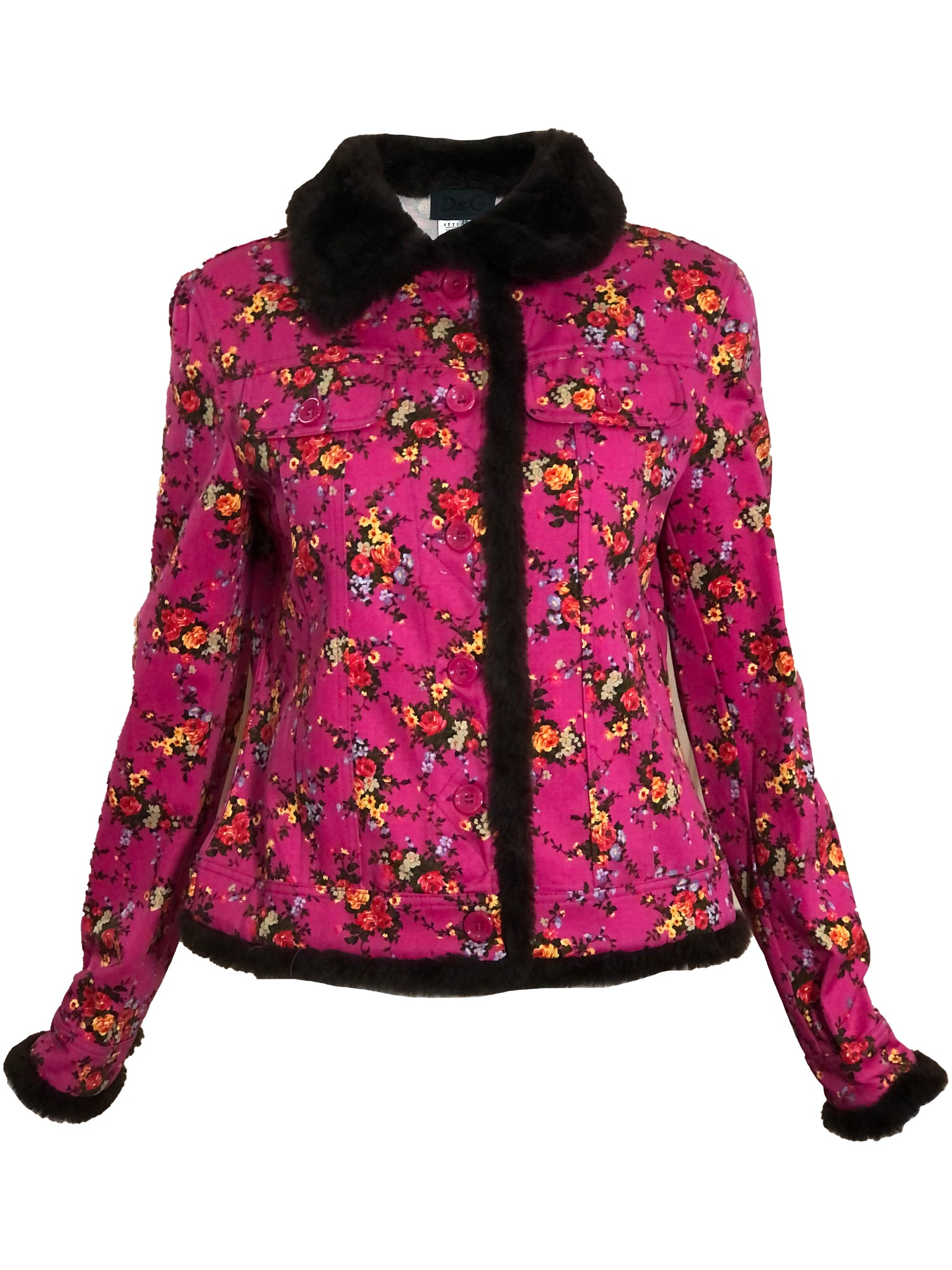 Dolce and Gabbana Two Piece Pink Floral Denim Ensemble JACKET 3 of 6