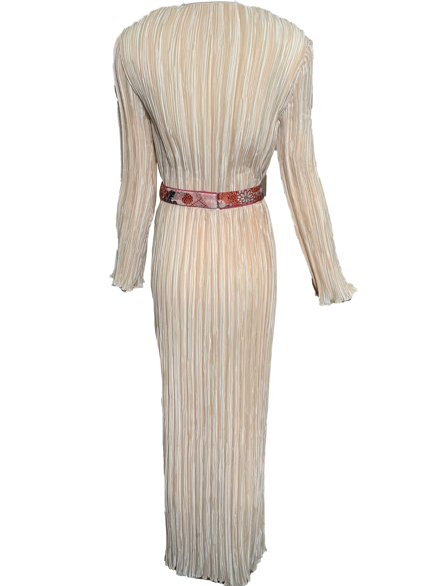 Mary Mcfadden Attribution Gown Peach Pleated Column with Belt BACK 3 of 5