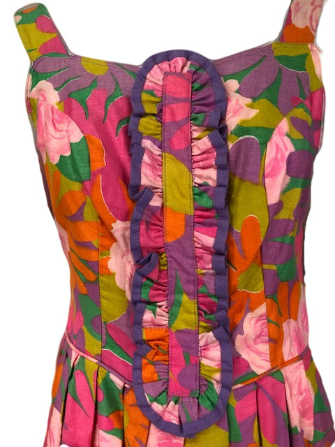 60s Dress Psychedelic Floral Mini with Ruffle Detail A 3 of 4