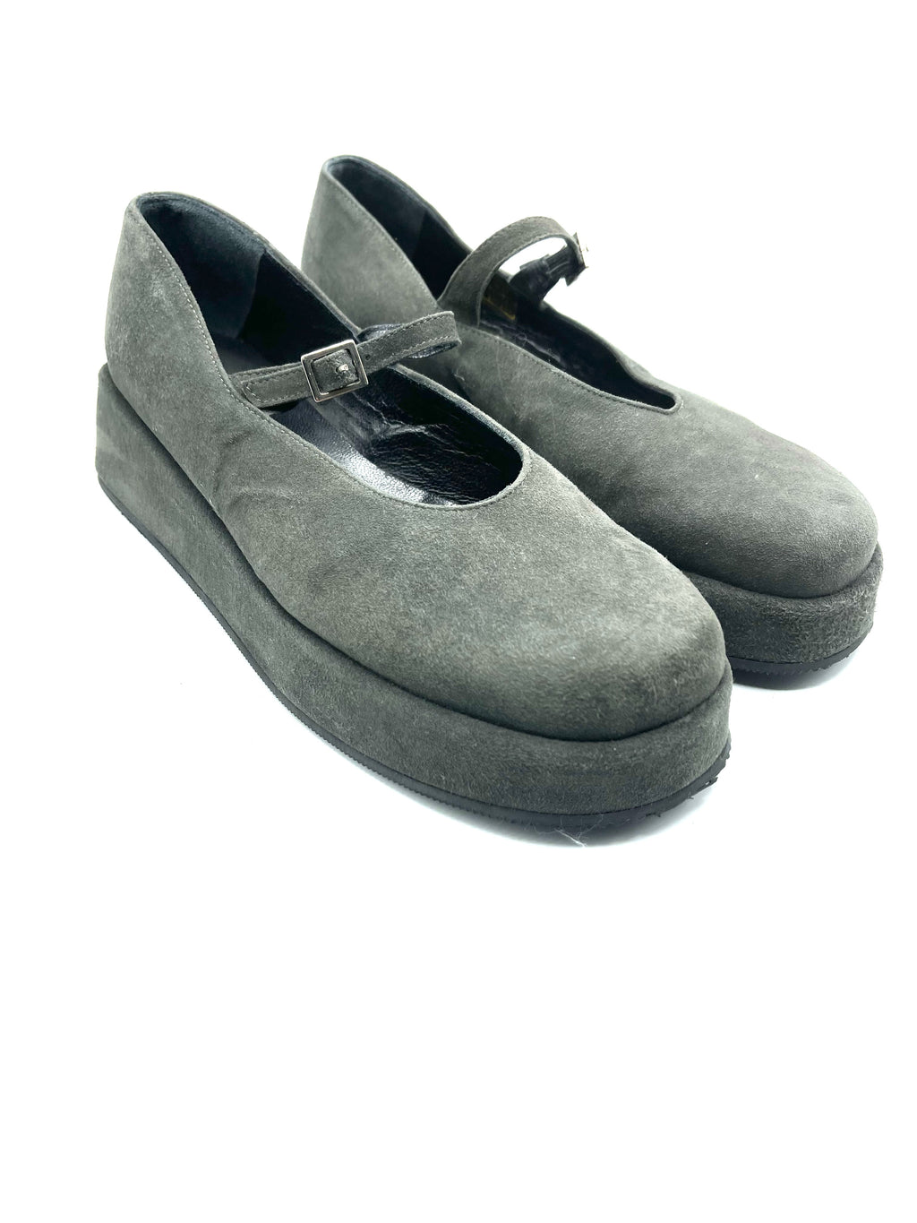 Espace 90s Grey Suede Mary Jane Flatform Shoes ANGLE 1 of 6