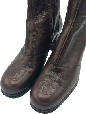 Chanel Early 2000s Chocolate Brown Ankle Boots with CC Logo DETAIL 4 of 4