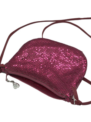 Whiting and Davis 70s Magenta Metal Mesh Disco Pouch BACK 2 of 4