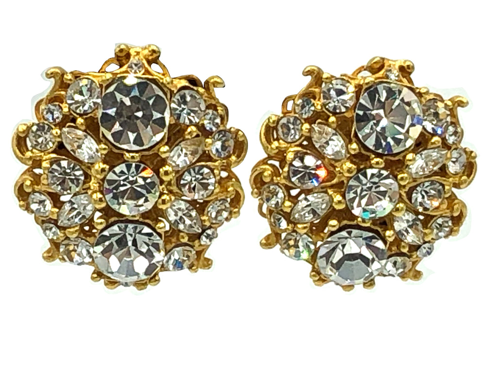 80s Earrings Opulent Oversize Rhinestone Medallions FRONT 1 of 2