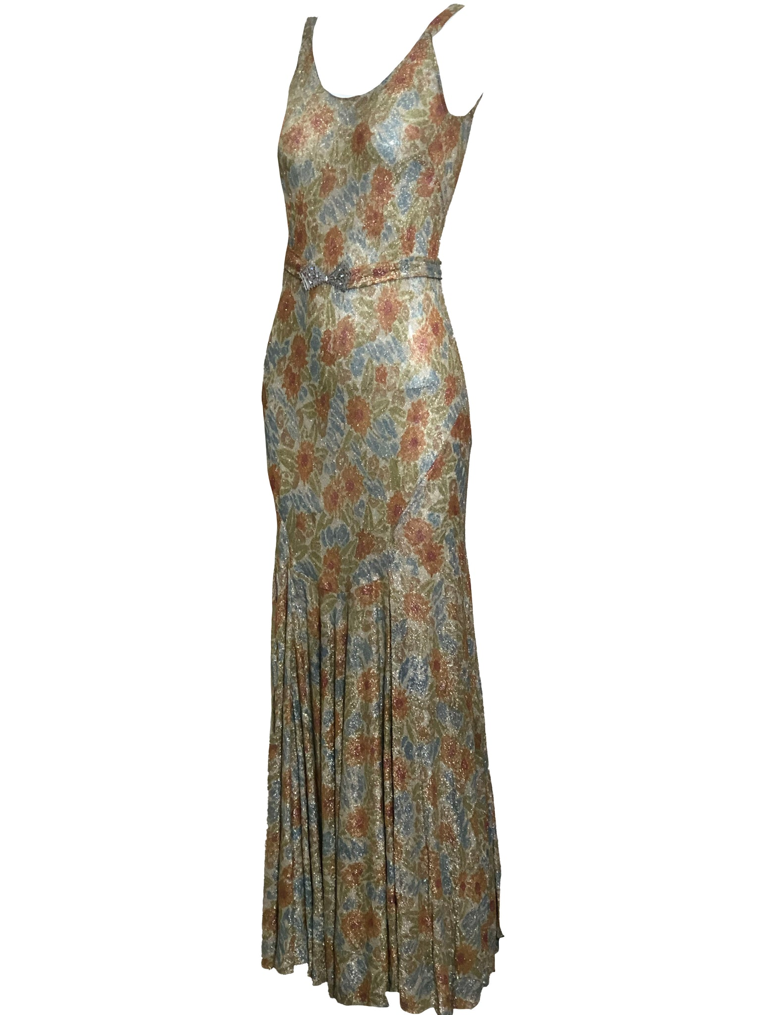 30s Gown Gold Lame with Belt  ANGLE 2 of 5