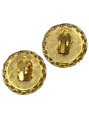 Chanel 90s Gold Tone Link and Black Button Earrings   2 of 3