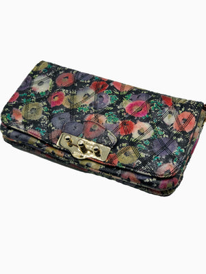 Bally Leather Quilted Floral Shoulder Bag FRONT 1 of 5