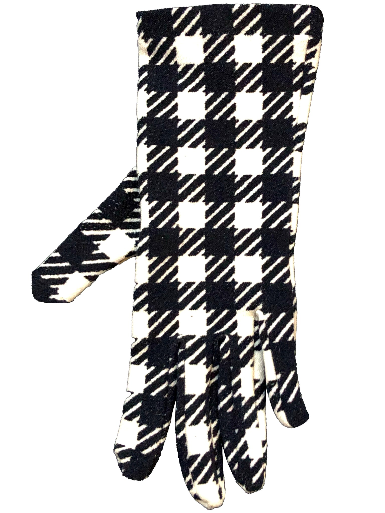 Alaia Iconic Black and White Houndstooth Gloves SINGLE 2 of 3