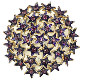 80s Brooch Purple Cluster of Rhinestone Stars FRONT 1 of 3