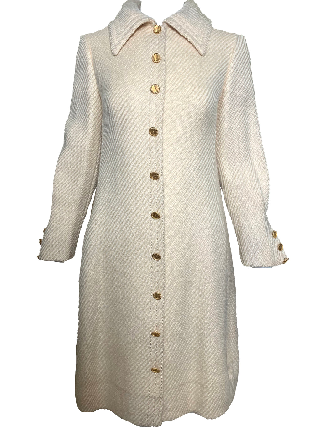 Galanos 60 Ivory Wool Mod Coat FRONT 1 of 6