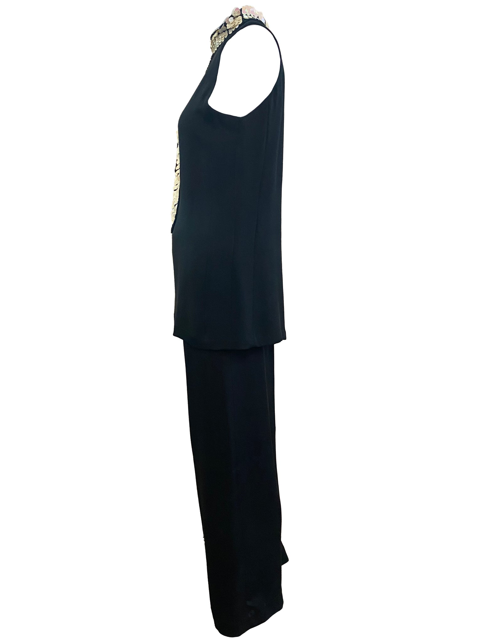 Swinging 60s Black Satin Pantsuit with Sequin Tie SIDE 2 of 5