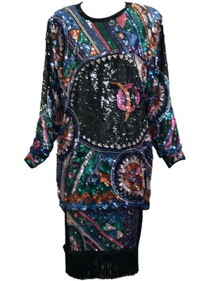 Judith Ann 80s Extravagantly Beaded and Sequined Rainbow Fantasy Dress FRONT 1 of 6