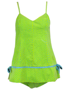 60s 2 Piece Green and Blue Polka Dot Swim/Play Suit FRONT 1 of 6