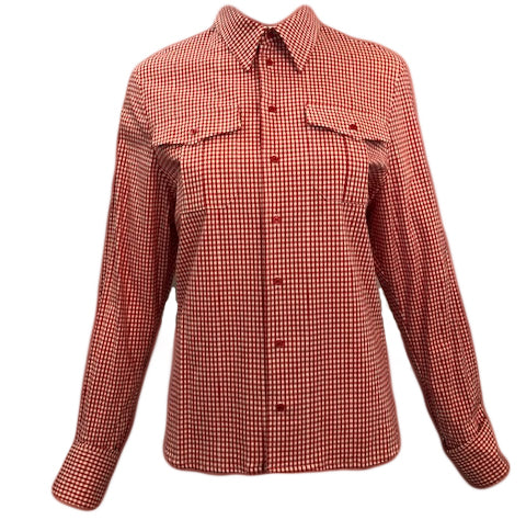 A.F. Vandevorst Red and White Check Blouse with Lace Up Back Front 1 of 6