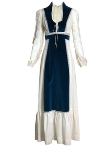Gunne Sax  Attribution 70s Ivory and Blue Velvet Romantic Maxi Dress FRONT 1 of 6