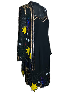 Fabrice 80s 2 Piece Black Sequin Fantasy Party Dress ENSEMBLE 1 of 10