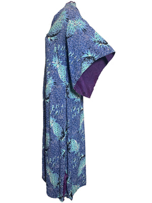 40s Hawaiian Blue Pineapple Print Rayon Pake Muu Dress  SIDE 3 of 6