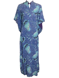 40s Hawaiian Blue Pineapple Print Rayon Pake Muu Dress  FRONT 1 of 6