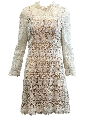 Mollie Parnis 70s Dress White Lace Bridal with Nude Underlay FRONT 1 of 4