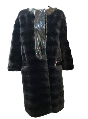 Pierre Cardin 60s Faux Fur and Patent Coat Front 1 of 7