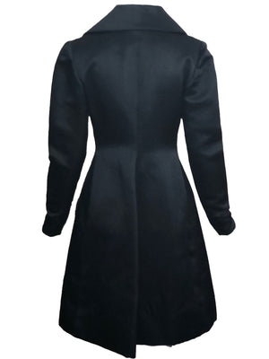 Givenchy Couture Black Satin Coat Dress BACK