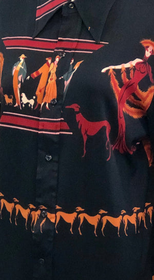 1970s polyester long sleeve blouse w/Erté-like print for Linda M.