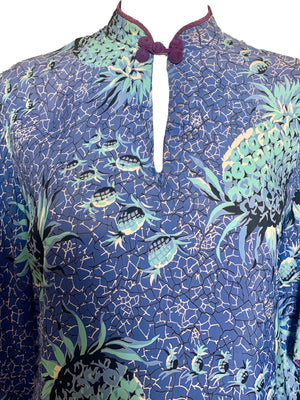 40s Hawaiian Blue Pineapple Print Rayon Pake Muu Dress  CLOSE UP FRONT 4 of 6
