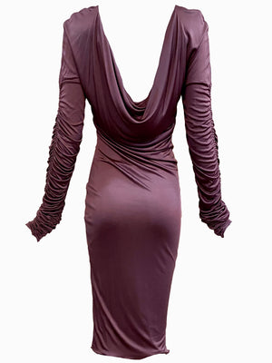 Gucci Tom Ford Era Slinky Mauve Jersey Dress BACK 2 of 3