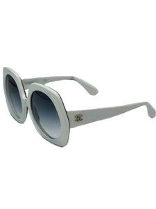 Chanel White Hexagonal Sunglasses  SIDE 1 of 5
