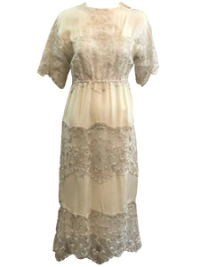 Sant Angelo Dress 70s Ivory Crepe and Silver Shot Lace FRONT 1 of 4