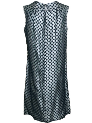 60s Dress Black Polka Dot Over Silver Lurex sheath BACK 3 of 6