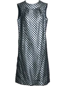 60s Dress Black Polka Dot Over Silver Lurex sheath FRONT 1 of 6