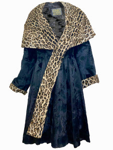 Norma Kamali 1985 Black and Faux Leopard Print Coat  FRONT 1 of 6
