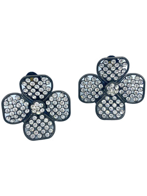 90s Four Leaf Clover Earrings with Sparkling Rhinestones 3 of 3