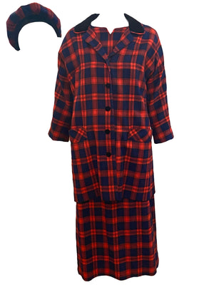 Aljean 60s 3 Piece Ensemble of Red and Blue Wool Plaid -Dress, Coat and Hat FRONT ENSEMBLE 1 of 8