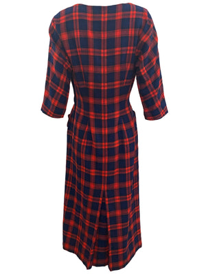 Aljean 60s 3 Piece Ensemble of Red and Blue Wool Plaid -Dress, Coat and Hat DRESS BACK 4 of 8
