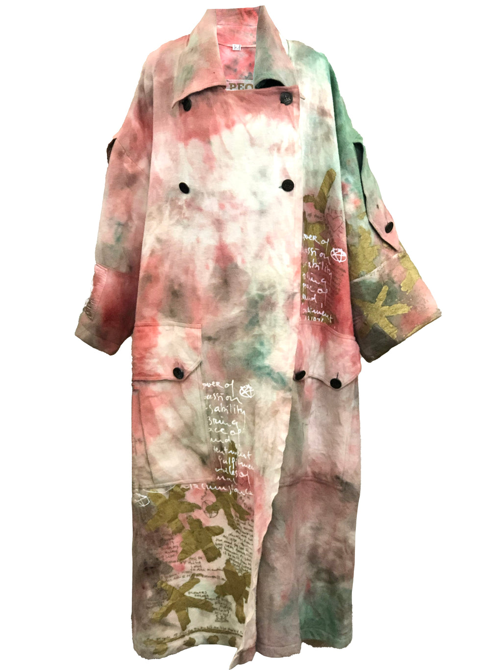 People of the Labyrinth Nubby Wool Tie Dye Great Coat FRONT 1 of 6