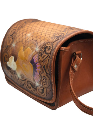 Hand Tooled Leather Shoulder Bag with Cupids SIDE 2 of 4