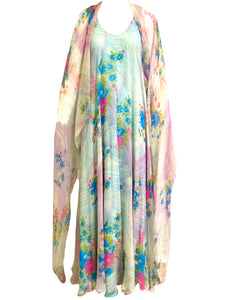 Stavropoulos 70s Pink and Blue Chiffon Maxi Dress with Scarf FRONT W/CAPE 1 of 5