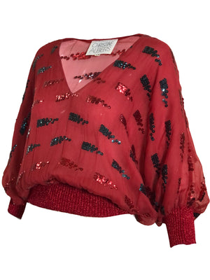 Christine Albers 70s Disco Red Sequin Blouse  SIDE 2 of 4