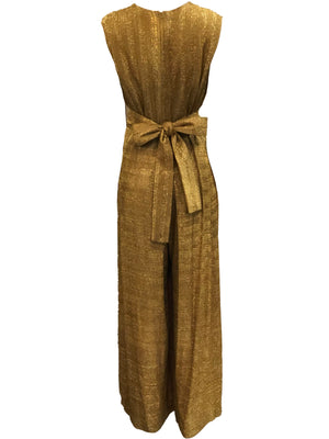 Georgia Keyloun 60s Gold Lurex Palazzo Jumpsuit, back