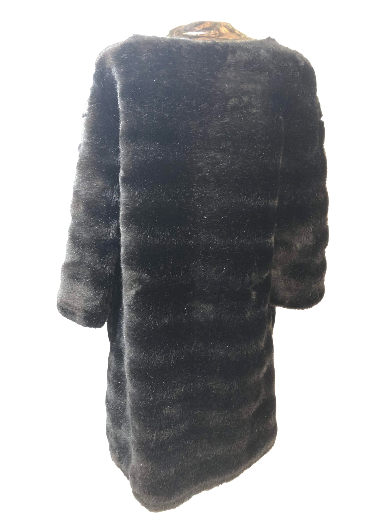 Pierre Cardin 60s Faux Fur and Patent Coat Back 2 of 7
