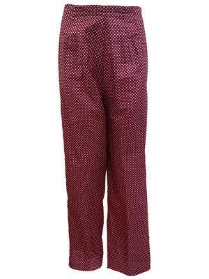 Halston 3 Piece Burgundy Polka Dot Beach Pajamas PANTS 5 of 6