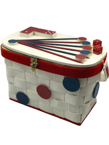 50s Basket Purse with Gambling Theme  FRONT 1 of 4