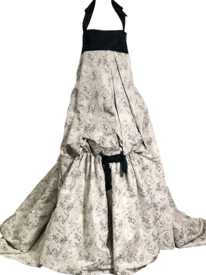 Carolina Herrera Contemporary Dove Grey Brocade Ballgown With Beaded Bandeau Top FRONT 2 of 7